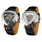 Fashion Men Triangle Dial Skeleton Automatic Mechanical Leather Band Sport Watch