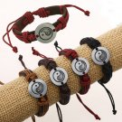 Leather and Hemp Cord Yin Yang Charm Wristband Bracelet For Men