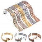 Silver Stainless Steel Buckle Straight End Mesh Watch Band Strap