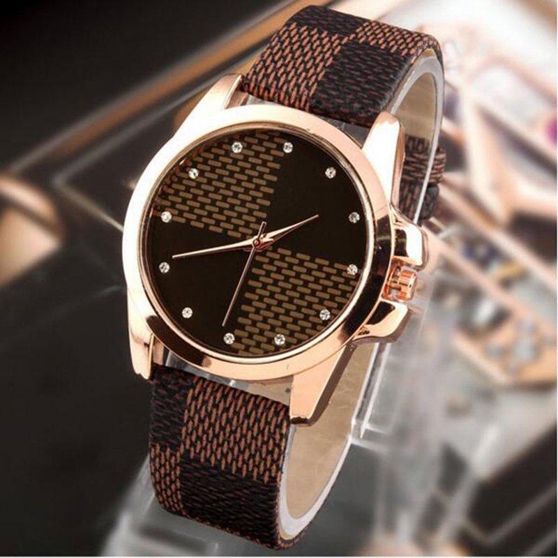 Fashion Retro Style Women Plaid PU Leather Strap Casual Ladies Wristwatch Brown