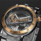 New Men Transparent Crystal Skeleton Roman Numeral Automatic Mechanical Watches