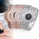 Luxury Bling Crystal Rhinestone Rose Gold Lady Women Bracelet Quartz Wrist Watch