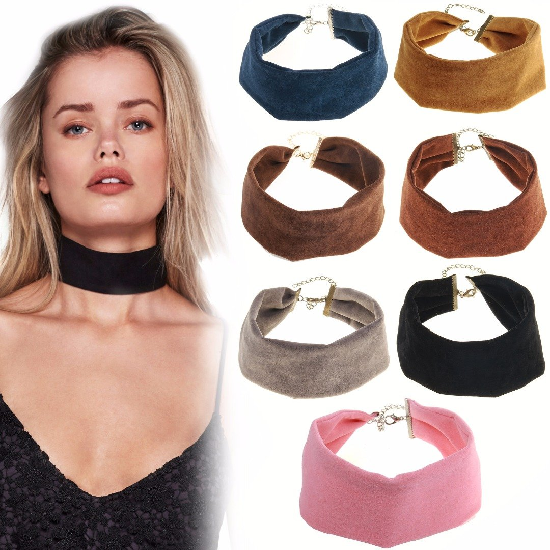 Women Gothic Wide Band Velvet Choker Gold Metal Chain Solid Color Necklace