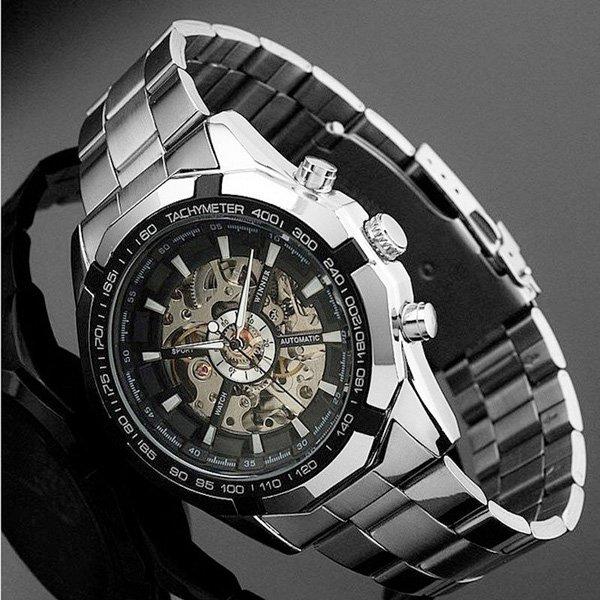 WINNER Men Skeleton Automatic Mechanical Stainless Steel Band Sport Wrist Watch