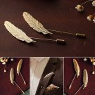 Feather Leaf Men's Suit Shirt Corsage Lapel Stick Pin Brooch Gold Silver