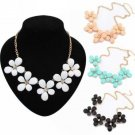 Women Crystal Flower Choker Chunky Statement Bib Necklace Charm Necklace