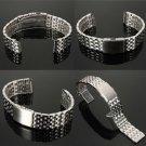 18/20/22mm Stainless Steel Watch Strap Bracelet Band Double Flip Lock Button NEW