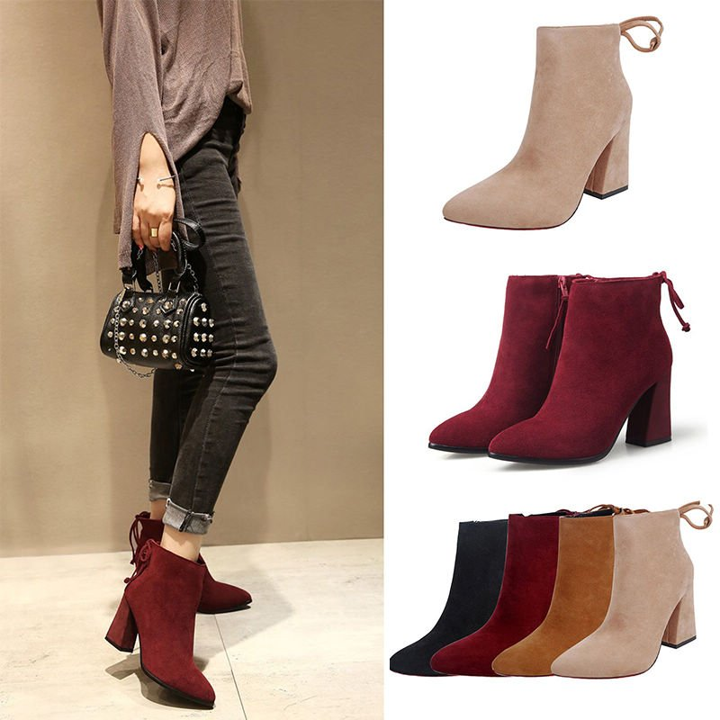 New Ladies Women's Block High Heel Ankle Boots Platform Pop Pointed Toe Shoes