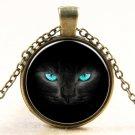 Vintage Blue-eyed cat Cabochon Tibetan silver Glass Chain Pendant Necklace
