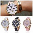 Cute Heart Shape Women Slim Leather Band Geneva Quartz Analog Bracelet Watches