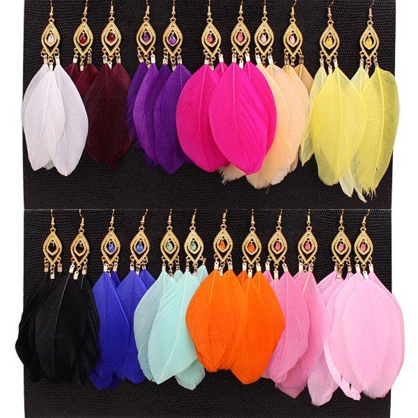 fashion long Feather circle chain dangle chandelier earrings jewelry