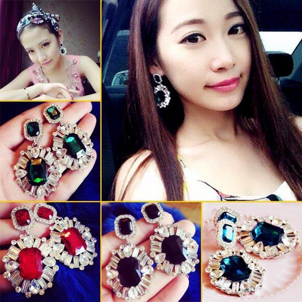 2016 Fashion Crystal Geometry Earrings Stud Ear Bib Statement Women Party Gift