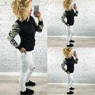 Cool Camouflage Black Printed Bomber Jacket Women Baseball Coat Tops M L XL