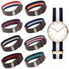 New Fashion Men 18/20mm Nylon Leather Wrist Watch Band Woven Watch Straps