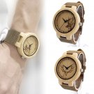 Bamboo Wooden Elk Deer Head Watch for Women Leather Band Quartz Watches