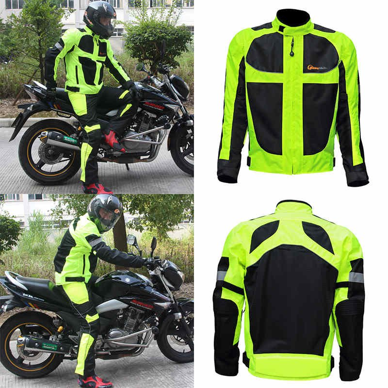 Men Winter Reflective Clothes Motorcycle Racing Suit+Protective Gear M-4XL