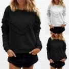 Women's Crew neck Long Sleeve Tassels Pullover Sweater Loose Outerwear Tops S-XL