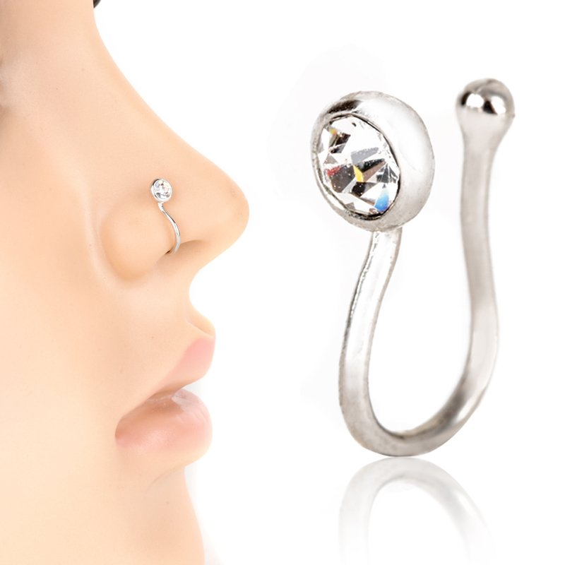 Glitter Silver Crystal Non Piercing Fake Clip On Nose Cuff Ring Nose Clamp Women