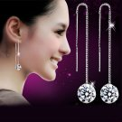 1Pair Women Silver Tassels Drop Dangle Long Chain Shiny Linear Earrings Jewelry