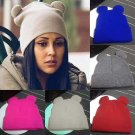 Winter Thick Knitted Wool Hat With Two Cat Ears Women's Beanie Warm&Soft Cap New