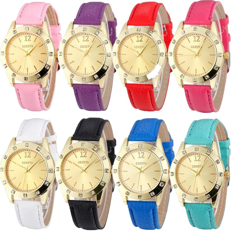 Fashion Geneva Women Golden Dial Crystal Diamond Leather Analog Quartz Watches