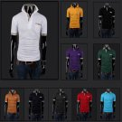 New Summer Men's Top Casual Long Sleeved Slim Stand Collar Solid Polo T Shirt