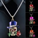 Retro Gold Jewelry Necklace Pendant Skull Flower Crystal SweaterString Fashion