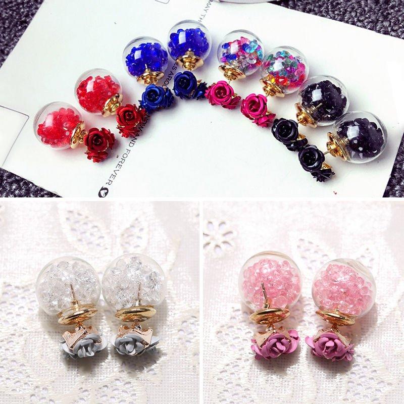 Hot Korean Fashion Womens Double Sides Rose Crystal Ball Ear Stud Earrings Gift