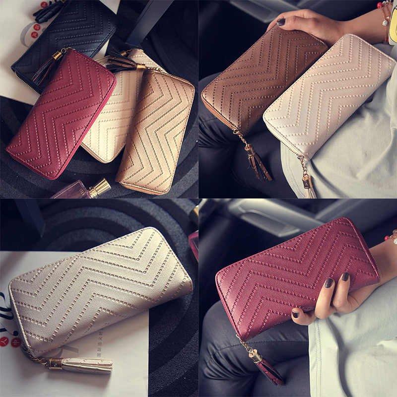 Womens Tassel Leather Card Holder Wallet Clutch Purse Ladies Long Handbag Purse