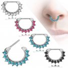 1Pc 16G 1.2mm Septum Clicker CZ Daith Nose Ring Body Piercing Fashion Jewelry