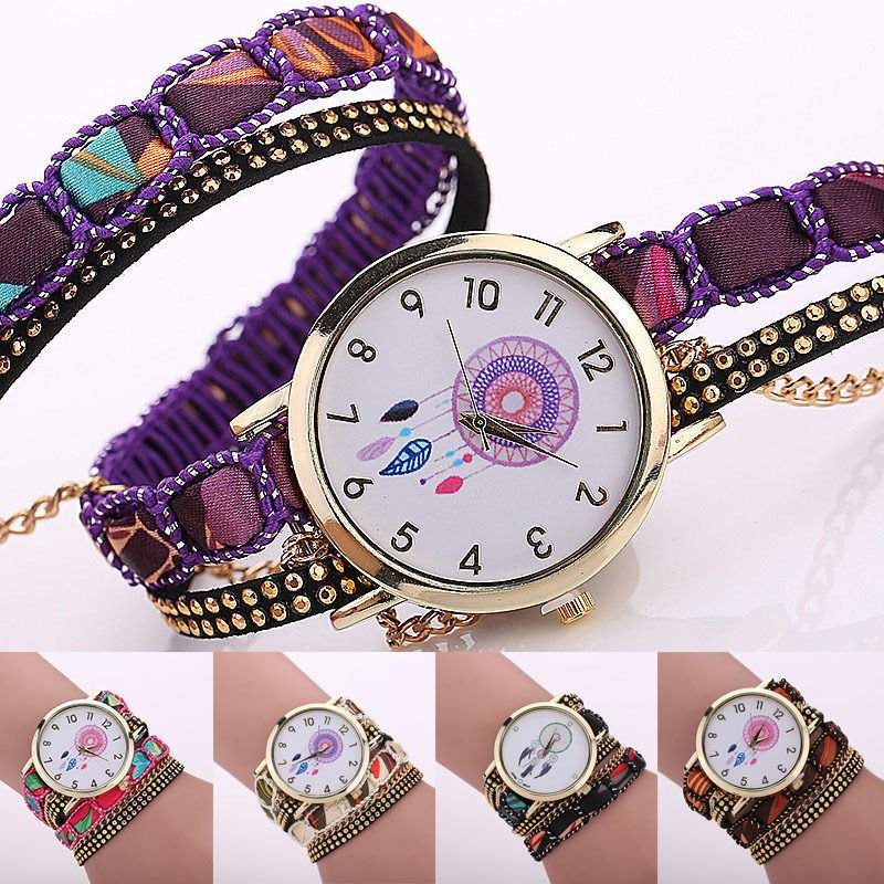 Fantastic Women Colorful Braiding Bracelet Wrap Quartz Casual Wristwatch Gifts