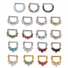 1pc 1.2/1.6mm Cool Rhinestone Septum Clicker Nose Ring Daith Piercing Jewelry