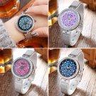Lady Rhinestone Crystal Dial Stainless Steel Mesh Band Quartz Wrist Watch Women