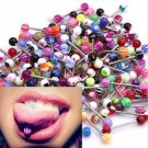 10pcs New Mixed Logo Ball Tongue Bars Rings Barbell Piercing Stainless Steel