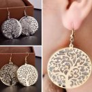 Gold Tone Silver Plated Tree Of Life Round Drop Earrings Hook Dangle For Women