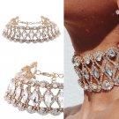 TOP Luxury Wedding Prom Full Crystal Rhinestone Pendant Choker Collar Necklace