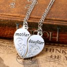 2PC/Set Hot Mom Mother & Daughter Love Heart Pendant Chain Necklace Charm Silver