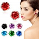 Rose Flower Crystal Pierced Ear Stud Rhinestone Earrings Best Gift For Women