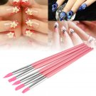 New  5Pcs Set Nail Art Silicone Head Painting Pen Nail Design Brush Pink