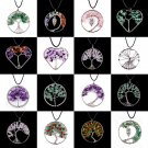Tree of Life Chakra Gemstone Crystal Stone Chips Reiki Healing Pendant Necklace