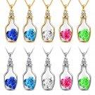 Womens Shiny Crystal Rhinestone Love Heart Drift Bottle Pendant Necklace Chain