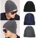 Unisex Winter Warm Crochet Ski Cap Braided Knit Beanie Men Women Baggy Wool Hat