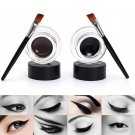 2Pcs Makeup Waterproof Eyeliner Gel Cream Eyes Cosmetic Black & Brown+Brush