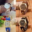 Fashion Women's Geneva Chain Silicone Roman Numerals Analog Quartz Wrist Watch