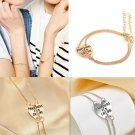 2pcs NEW Gold/Silver Heart Partners in Crime Best Friend BFF Chain Bracelet Gift