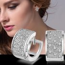 Fashion Lady Women's Crystal Silver Ear Stud Hoop Huggies Earrings Jewelry