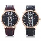 Fashion Soxy Men Gold Case PU Leather Band Military Quartz Wrist Analog Watches