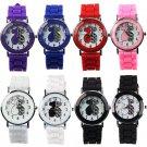 Womens Stylish Little Bear Alphabets Printed Silicone Analog Quartz Wrist Watch