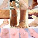 Fashion Women Anklet Heart Bead Tassel Ankle Bracelet Foot Chain Jewelry