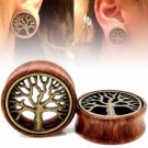 PAIR-WOOD & BRASS TREE OF LIFE EAR TUNNELS-FLESH TUNNELS-Ear Gauges-Ear Plugs